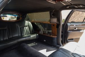 Foremost seats of our stretch limo from another angle