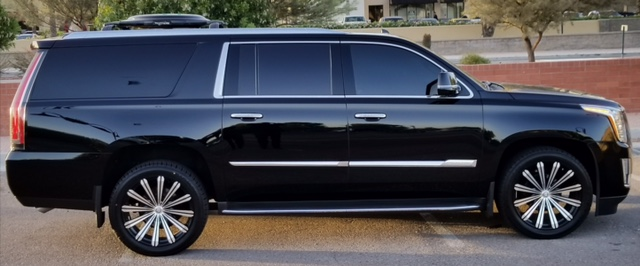Black 2016 Escalade with Satellite TV. Part of the Phoenix Limo Service fleet.
