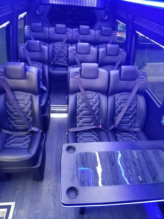 Inside of Phoenix Sprinter executive transportation and party bus
