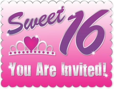 Sweet Sixteen invitation card - limousine rental and chauffeur service