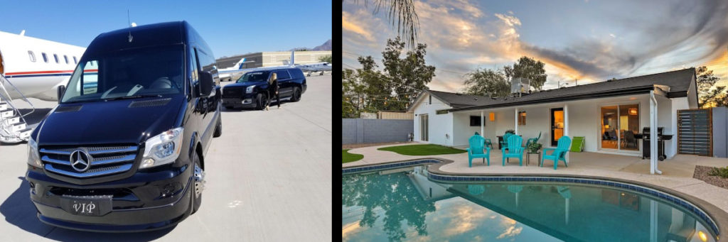 Phoenix limousines, chauffeur, concierge service and Scottsdale luxury vacation rentals by Top Notch Transportation