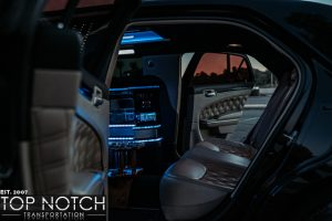 Black Stretch Limousine Phoenix - interior rear side view