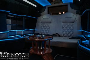 Black Stretch Limousine in Phoenix - interior rear with drinks