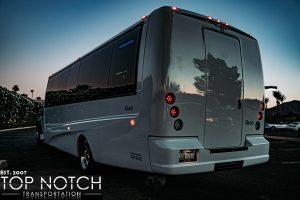 White Wedding Party Bus Scottsdale - rear