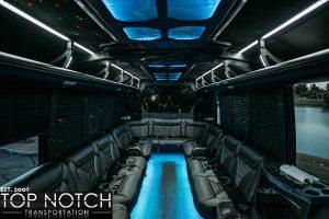 White Wedding Party Bus Scottsdale - interior blue