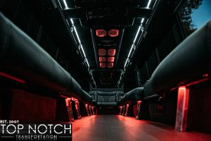 White Wedding Party Bus in Scottsdale - interior red