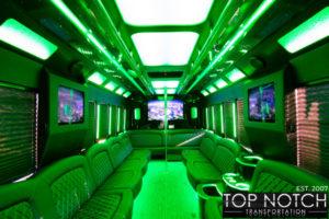 Top Notch Transportation Phoenix Limousine Service 2020 Party Bus interior green