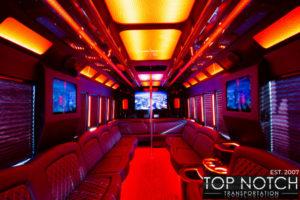 Top Notch Transportation Phoenix Limousine Service 2020 Party Bus interior orange