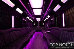 Top Notch Transportation Phoenix Limousine Service 2020 Party Bus interior purple
