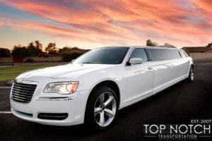 Top Notch Transportation Phoenix Limousine Service Chrysler 300 Wedding Limo front