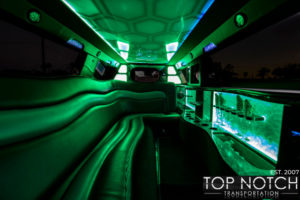 Top Notch Transportation Phoenix Limousine Service Chrysler 300 Wedding Limo interior green