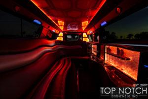 Top Notch Transportation Phoenix Limousine Service Chrysler 300 Wedding Limo interior orange