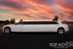 Top Notch Transportation Phoenix Limousine Service Chrysler 300 Wedding Limo side