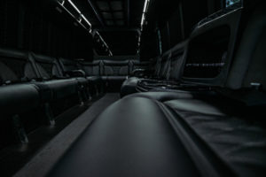 White Wedding Party Bus in Phoenix - interior seats